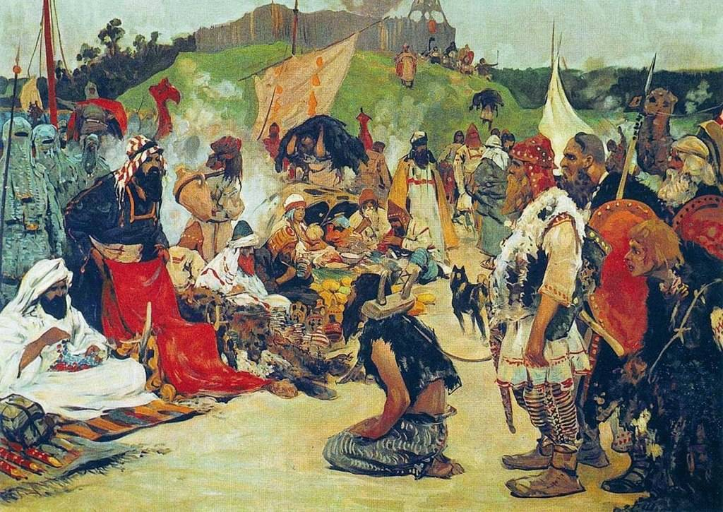 1024px-S._V._Ivanov._Trade_negotiations_in_the_country_of_Eastern_Slavs._Pictures_of_Russian_history._%281909%29.jpg