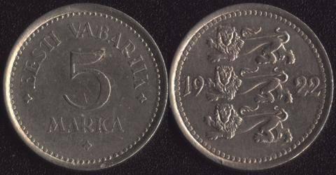 Эстония 5 марок 1922