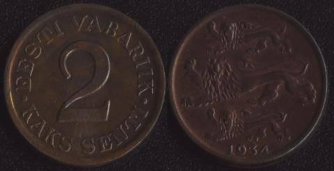 Эстония 2 сенти 1934